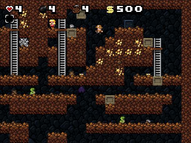 Spelunky is a cave exploration / treasure-hunting game inspired by classic platform games and roguelikes, where the goal is to grab as much treasure from the cave as possible. Every time you play the cave's layout will be different. Use your wits, your reflexes, and the items available to you to survive and go ever deeper!